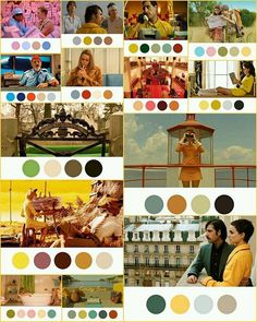 Another Wes Anderson example- he uses striking color palettes to focus your attention and to create a unified mood across his movies that's retro, dream-like, and immersive. Wes Anderson Style, Wes Anderson Movies, Wes Anderson Color Palette, Movie Color Palette, Color In Film, Instalation Art, Stuart Little, The Royal Tenenbaums, Hotel Paris