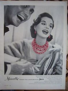 1955 Vintage Marvella Red Hot Cool Pink Beads Necklace Jewelry Ad | eBay