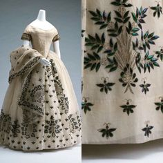 dress with beetle wing details 1800s Dresses, Old Dresses, Pretty Dresses, Historical Costume, Historical Clothing, Historical Dress, Vintage Gowns, Vintage Outfits, Victorian Fashion