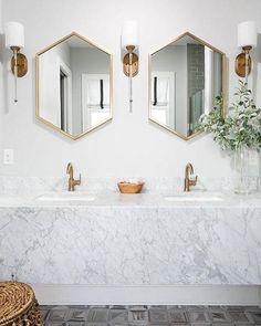 sweet West Elm mirrors double up nicely in the bath