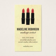 #makeupartist #businesscards - #Lipstick / Makeup Artist Business Card