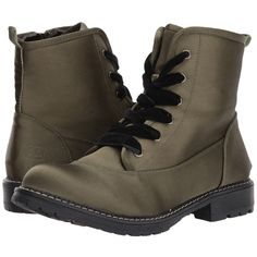 Dirty Laundry Rosario Satin (Olive) Women's Lace-up Boots (89 AUD) ❤ liked on Polyvore featuring shoes, boots, ankle boots, laced boots, lace-up bootie, olive green ankle boots, laced ankle boots and round toe ankle boots