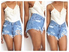 Dirty Ripped Distress  Daisy Dukes  High Waist Shorts