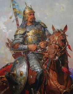 """Талгат Тлеужанов (Talgat Tleuzhanov), kazakh artist - """"Kazakh warrior - Batyr"""""""