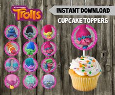 Trolls Cupcake Toppers // Trolls Birthday Party // by LLPartyPlace