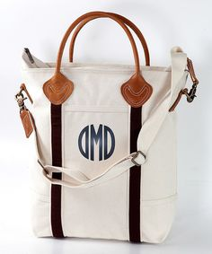 Look at this Ivory & Brown Monogram Flight Bag on #zulily today!