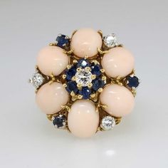 Glorious 1960's Coral, Sapphire and Diamond Ring 18k SOLD: 9/27/14