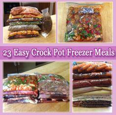 23 Easy Crock Pot Freezer Meals - Black Bean and Corn Salsa Chicken, Sweet & Sour Meatballs. Pulled Pork Chili, Savory Pepper Steak, Chicken Sweet Potatoes, Chicken Broccoli Alfredo, Pork Carnitas, Teriyaki Pork Chops, BBQ Spareribs, Southwestern Chicken Chili, BBQ Cranberry Chicken, Chicken Teriyaki, Honey Garlic Chicken Honey Bourbon Chicken, Orange Chicken Apple BBQ Pork Tenderloin Beef Stroganoff, Sausage & Peppers Nacho Chicken, Pineapple Chicken Burritos