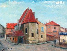 Alois Kohout Kostelík Na prádle 1928, olej, plátno, 68,2 x 90 cm, značeno vlevo dole: Al. Kohout. 1928. , Galerie hlavního města Prahy