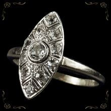 Ravishing 1ctw Old European Cut Diamond 18k Gold Navette Ring, $999.