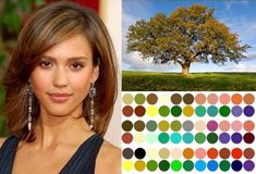 Finding your color palette depending on your skin tone. We decided I'm most likely a deep autumn skin tone so my color palette is roughly the bottom two rows... This. is. so. FUN!