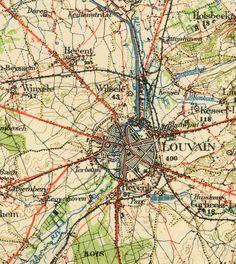 Leuven stafkaart, institut Cartografique Militaire, 1/100.000, Blad V Bruxelles, 1938