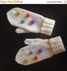 Christmas Sale Knit Pom Pom Gloves White Knitted Mittens Warm Cozy Winter Accessory Hand Knitted Valentine Christmas Birthday Gift for Her G