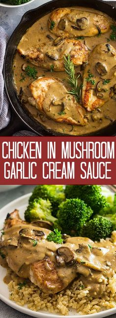 This Chicken in Garlic Mushroom Cream Sauce is full of flavor and super easy to make! It's made in 30 minutes making it a great weeknight meal!