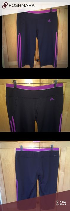 Adidas 'Climalite' workout leggings, capri pants Adidas 'Climalite' workout leggings, capri pants. EUC, worn once or twice. Comfortable and fabric that's workout breathable, machine washable, reflective. Dark charcoal grey with pink stripes and accents. Adidas Other