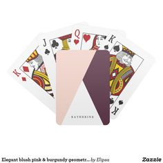 Shop Elegant blush pink & burgundy geometric triangles playing cards created by Elipsa. Navy Blue Color, Burgundy Color, Personalized Playing Cards, Personalized Gifts, Typography Images, Burgundy Bridesmaid Dresses, Unique Birthday Gifts, Blush Pink, Triangles
