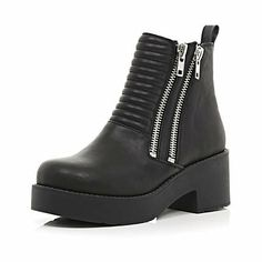 Black double zip chunky ankle boots - ankle boots - shoes / boots - women