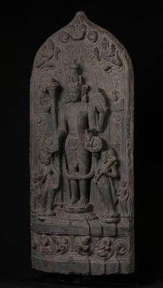 Stele of Vishnu Black Stone India, Bihar, Pala Dynasty, circa 11th century