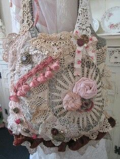 Upcycled shabby chic victorian brocante bag