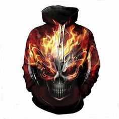 Casual Melted Skull 3D Print Skull Hooded Sweatshirt df9d7d92d57