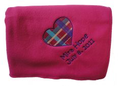 Pink and Purple Fleece Blanket with Plaid Heart Embroidery