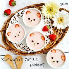 Rilakkumar strawberry yoghurt puddings by Sakie (@ske.f)
