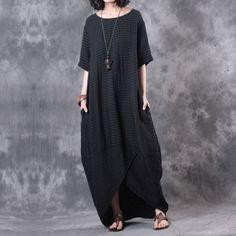 Irregular Solid Pocket Women Black Dress