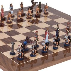 Hand Painted Romans  Egyptian Solid Pewter Chessmen with Greenwich St Chess Board from Spain King 4 ** Check out this great product.
