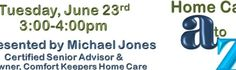 Michael will discuss types of home care available, the various services, including respite care that can be provided, how to pay for home care, and how to choose a home care agency.  Bring your questions!  To download flyer:  http://venice.comfortkeepers.com/Assets/Documents/HC%20AtoZ%20Flyer%20Venice%20Updated%20060415.pdf