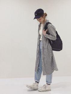 ストライプが着たくなる季節◎ 今日はどうしてもラインソックスな気分でした🙆♂️ ∴∵∴∵ Ins Normcore, Textiles, Japanese, How To Wear, Outfits, Style, Fashion, Swag, Moda