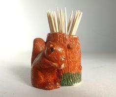 Mid Century Resin Squirrel & Tree Stump Toothpick Match Holder on Etsy, $9.00