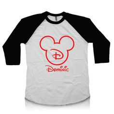 Mickey Mouse Personalized Shirt For Boys or Girls - Disney Raglan Tee with Custom Name and Initial