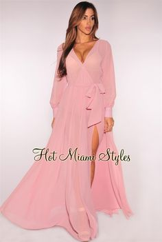 Dusty Rose Faux Wrap Long Sleeves Belted Maxi Dress