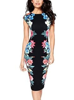 Vfemage Womens Elegant Floral Printed Slimming Cocktail Party Casual Dress  2845 BLK S -- Be 12a981d2a