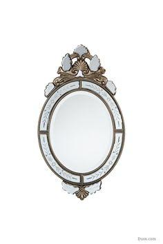 Vintage Venezia Oval Silver Mirror  : For sale at www.DUSX.com