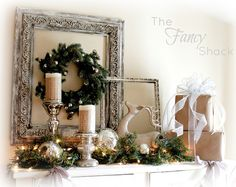 Christmas mantle in white and silver