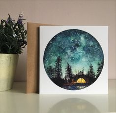 Camping At Night Card by StudioFactotumUK on Etsy
