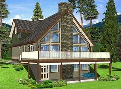 Roomy Vacation Retreat - 6740MG | 2nd Floor Master Suite, CAD Available, Canadian, Cottage, Loft, Mountain, Narrow Lot, PDF, Sloping Lot, Vacation, Wrap Around Porch | Architectural Designs