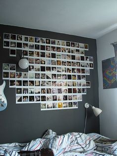 When i get a polaroid, my wall will look like this! Cute idea for a toyroom.