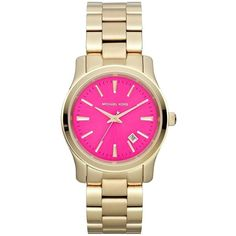 Pre-owned MICHAEL KORS RUNWAY PINK DIAL GOLD TONE STAINLESS STEEL... ($125) ❤ liked on Polyvore featuring jewelry, watches, accessories, gold, stainless steel bracelet, gold tone jewelry, gold tone bracelet, pink-face watches and gold tone watches