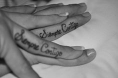 """Siempre Contigo"" ""Always With You"" Matching Finger Tattoos on our Honeymoon August 07, 2010 by ssaoji, via Flickr"