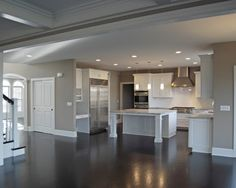 Gray Walls White Trim Dark Floors By Manda