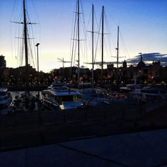 Very last bit of light is fading at the port in Barcelona  All these yachts are making me super jealous though #TheHatOnTheGo