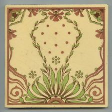 "Transfer printed 6"" square Art Nouveau tile by Mintons China Works, 1899"