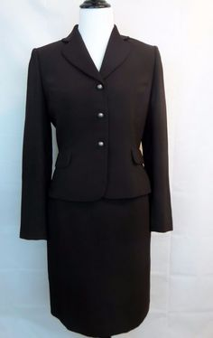 Tahari Arthour Women Suit Coat Blazer Skirt Sz 6 Buttons Brown Espresso Lined #TAHARI #SkirtSuit