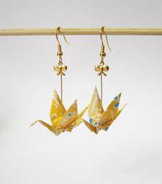 Boucles d'oreilles oiseaux en origami par ichimo sur Etsy, €8.00