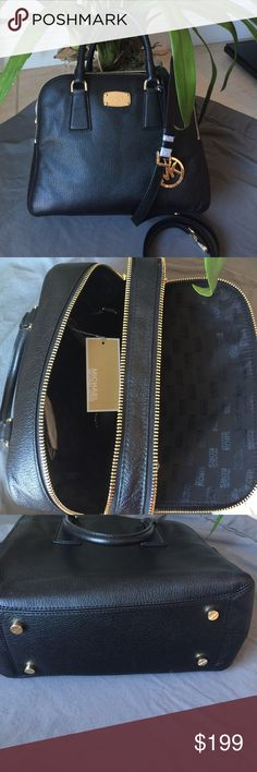 Black Leather Michael Kors satchel Beautiful brand new black pebbled leather multi zip satchel by Michael Kors. This medium sized  'Alexis' has two separated zip compartments - one is smaller and has an slide pocket. The larger section has one zip and 4 slide pockets. Optional strap attaches to ends. Measures - 12 long, 5 wide and just over 9 inches deep. 4 & 1/2 inch handle drop. Beautiful bag, new with tags. No dust bag. Michael Kors Bags Satchels