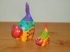 Hand carved brightly painted wooden folk art pair of cats | eBay