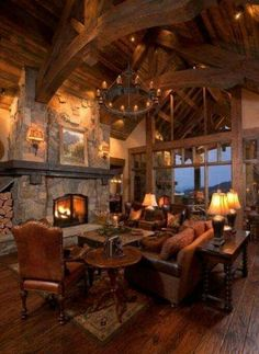 My dream living room in a timber frame cabin. Log Cabin Living, Log Cabin Homes, Log Cabins, Rustic Home Design, Rustic Homes, Rustic Room, Rustic Barn, Mountain Homes, Mountain Cabins