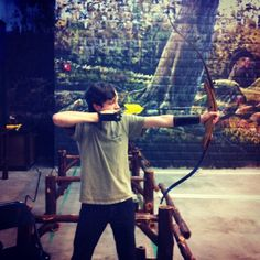 Shooting my #recurvebow at the #archeryrange #fulldraw #hunting #arrow #Padgram